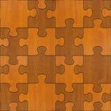 Hölzerne Puzzlespiele zusammengebaut für nahtlosen Hintergrund Lizenzfreie Stockfotografie