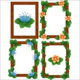 Hölzerne Rahmenrahmen mit Blättern und Blumen vektor abbildung