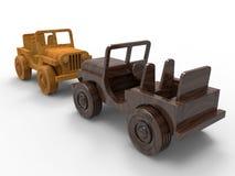 Hölzerne Retro- Spielzeugautos lizenzfreie abbildung