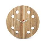 Hölzerne runde Wanduhr - Uhr lokalisiert auf Weiß stockfotografie