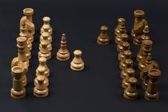 Hölzerne Schachfiguren auf einem schwarzen Hintergrund Stockfoto