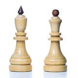 Hölzerne Schachmänner Stockfotografie