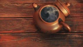 Hölzerne scharfe Tabelle der chinesischen heißen Teekanne niemand hd Gesamtlänge stock footage