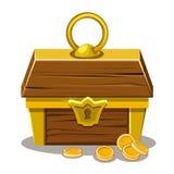 Hölzerne Schatztruhe und Münze Stockbild