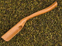 Hölzerne Schaufel über trockenen grünen Teeblättern lizenzfreie stockfotos