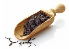Hölzerne Schaufel mit schwarzem Tee Assam stockbilder