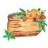 Hölzerne Scheiben des Aquarells mit Weihnachtsdekor vektor abbildung