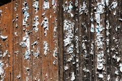 Hölzerne Scheunentüren mit Heftklammern und Überresten des auseinandergerissenen Posters lizenzfreies stockfoto