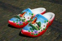 Hölzerne Schuhe am cheesemarket in Alkmaar Stockfotografie