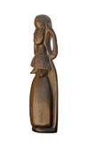 Hölzerne Skulptur der Turkana Frau von Kenia getrennt Lizenzfreies Stockbild
