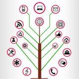 Hölzerne Social Media-Ikonen Stock Abbildung