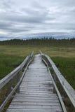 Hölzerne Spur in den Sumpf bei Faenstjaernen in Vaermland, Schweden Lizenzfreies Stockfoto