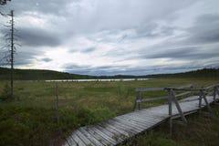 Hölzerne Spur in den Sumpf bei Faenstjaernen in Vaermland, Schweden Stockfotos