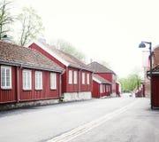 Hölzerne Stadt des alten Dorfs von Moss Norway lizenzfreie stockfotografie