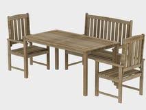 Hölzerne Tabelle und Sitze Stockfotografie