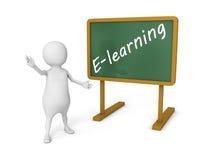 Hölzerne Tafel des weißen Mannes 3d mit Text - E-Learning Stockbilder