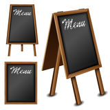 Hölzerne Tafel eingestellt für Restaurantmenü Lizenzfreie Stockbilder