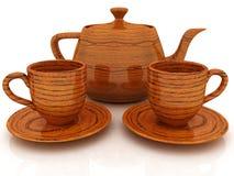 Hölzerne Teekanne und Cup Stockbild