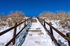 Hölzerne Treppe auf einem Abhang im Winter Deogyusan-Berge in Korea Stockfotos