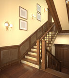 Hölzerne Treppen im modernen Haus. Stockbilder