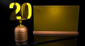Hölzerne Trophäe der Wiedergabe 3D mit Nr. 20 im Gold und in der goldenen Platte mit dem Raum, zum auf Spiegeltabelle in schwarze lizenzfreie abbildung