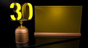 Hölzerne Trophäe der Wiedergabe 3D mit Nr. 30 im Gold und in der goldenen Platte mit dem Raum, zum auf Spiegeltabelle in schwarze stock abbildung