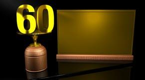 Hölzerne Trophäe der Wiedergabe 3D mit Nr. 60 im Gold und in der goldenen Platte mit dem Raum, zum auf Spiegeltabelle in schwarze vektor abbildung