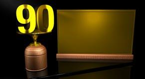 Hölzerne Trophäe der Wiedergabe 3D mit Nr. 90 im Gold und in der goldenen Platte mit dem Raum, zum auf Spiegeltabelle in schwarze stock abbildung