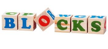 Hölzerne Würfel Blockwort Lizenzfreies Stockbild