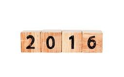 2016 hölzerne Würfel des neuen Jahres Stockbilder