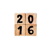 2016 hölzerne Würfel des neuen Jahres Lizenzfreie Stockbilder