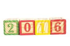 2016 hölzerne Würfel des neuen Jahres Lizenzfreies Stockfoto
