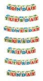 Hölzerne Würfel Tage der Woche Stockbilder