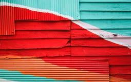 Hölzerne Wand bunt für Hintergrund Stockfotografie
