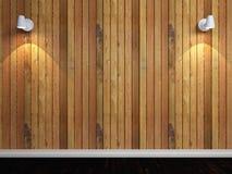 Hölzerne Wand mit Leuchten Stockbilder