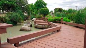 Hölzerne Wegweise mit Landschaft des Gartens und des Teichs Stockfotografie