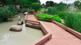 Hölzerne Wegweise mit Landschaft des Gartens und des Teichs Lizenzfreies Stockfoto