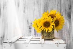 Hölzerne weiße Weinlese der Hintergrundstilllebenblumen-Sonnenblume Lizenzfreie Stockfotos