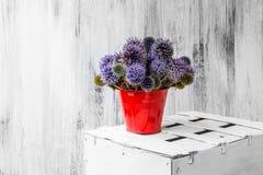 Hölzerne weiße Weinlese der Hintergrundstilllebenblumen-Sonnenblume Stockfotografie
