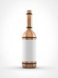 Hölzerne Weinflasche auf weißem Hintergrund Lizenzfreie Stockfotos