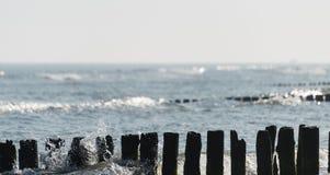 Hölzerne Wellenbrecher in der Ostsee mit rauen Wellen auf einem Sommermorgen lizenzfreies stockfoto