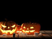 Hölzerne Wiedergabe der Planken 3d Halloween-Kürbises vektor abbildung