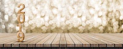2019 hölzerne Wiedergabe der Zahl 3d des guten Rutsch ins Neue Jahr auf hölzernem Tabellenesprit lizenzfreie stockfotografie