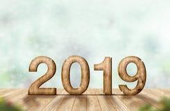 Hölzerne Wiedergabe der Zahl 3d des neuen Jahres 2019 auf hölzerner Plankentabelle a stockfotografie