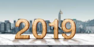Hölzerne Wiedergabe der Zahl 3d des neuen Jahres 2019 auf weißer Marmortabelle a lizenzfreie abbildung