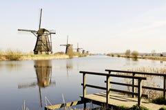 Hölzerne Windmühle von Holland Stockfotos