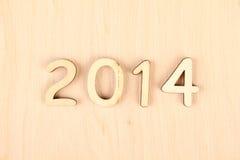 Hölzerne Zahl im Jahre 2014. Neues Jahr Stockfotos