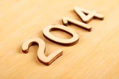 Hölzerne Zahl im Jahre 2014. Neues Jahr Lizenzfreies Stockfoto