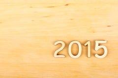 Hölzerne Zahl im Jahre 2015. Neues Jahr Stockfoto