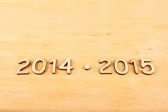 Hölzerne Zahl im Jahre 2014-2015. Neues Jahr Lizenzfreie Stockfotografie